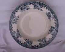 Shabby Vintage French Plates, Turquoise Transferware Pair of Dining Dishes, Fruit or Cereal Dishes, Moulin des Loups,
