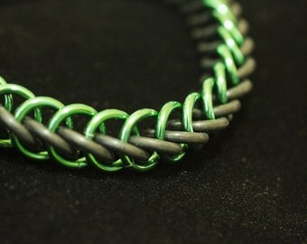 Green & Black Stretch Chainmaille Bracelet - Half Persian 3-1