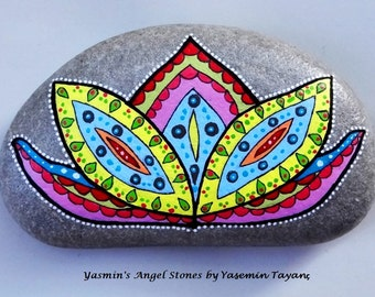 Hand Painted Stone – Lotus