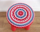 PDF Crochet Pattern  Bohemian crochet stool cover, colorful cover for Ikea Mammut stool-Instant Download