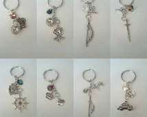 Once Upon a Time Character Charms for bags, keys etc (5-9cm) with swarovski heart. Emma, Regina, Hook and many more!