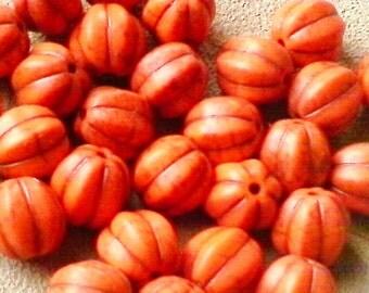 Pumpkin beads; deep orange-dyed, Howlite pumpkin beads, 10mm, 6pcs/2.30.