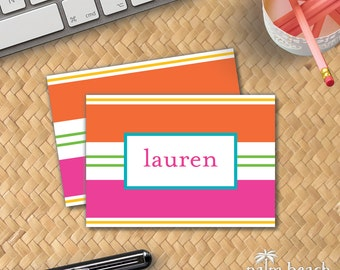 Cabana Stripe Folded Notecard Stationery Set - Personalized Beach Towel Pattern Writing Paper - Pink Green Orange Yellow Foldover Note Cards
