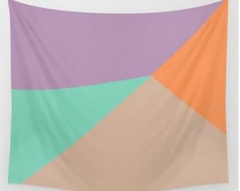 Wall Tapestry Geometric Shape Triangles Pantone 2015 Colors Toasted Almond Purple Green Tangerine Tan Boho Bohemian Home Wall Decor