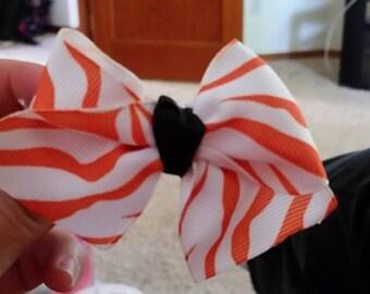 Orange Zebra Boot Bow