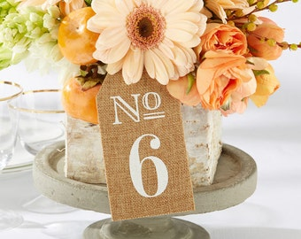 Burlap Table Numbers 1-6, 7-12, 13-18 (Set of 6), Table Decor