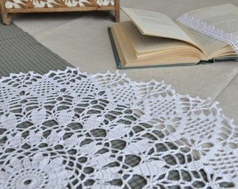 "White Crochet Napkin ""Fermata"", Handmade, 100% cotton, Crochet Table Doily, Handcrafted Home Decor, Rustic Charm"