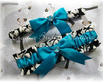 Black and White Damask with Turquoise Wedding Bridal Garter Set
