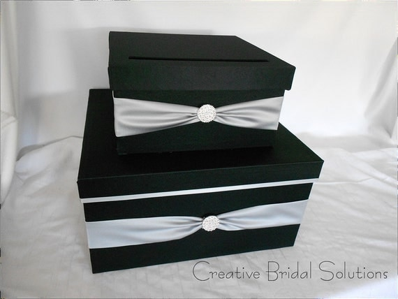 Wedding Money Gift Card Holder Box- Square, Black Card Box, Black ...