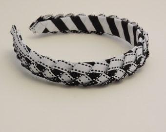 Woven Ribbon Headband With Braided Ribbon Top