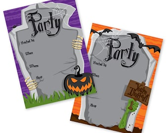 Halloween Tombstones Fill In Invitations, Family Halloween Party, Children's Halloween Party, Celebrate,  Invite - FI151