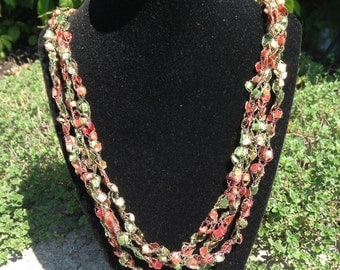 Ladder Yarn Necklace (Autumn Leaves)