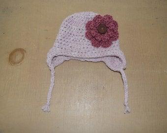 Handmade Crochet Baby Hat, Baby Girl Earflap Hat With Flower