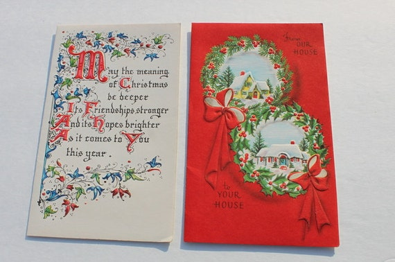 ... Cards, Houses Seasons Greetings Holiday, Old Christmas Cards, Lot of 2