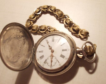 patent remontoire swiss made sterling silver pocket watch