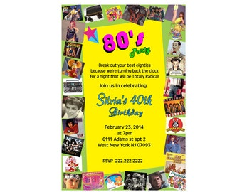 80's Party theme birthday invitation - Digital File