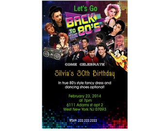 80's Theme Personalized Birthday Party Invitations - Digital File
