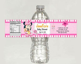 Printable Personalized Baby Minnie Mouse Baby Shower water bottle label