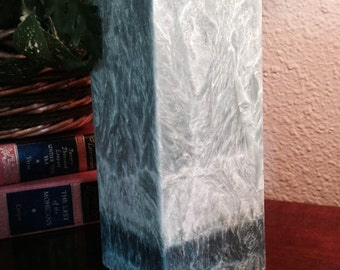 Teal Palm Wax Pillar Candle