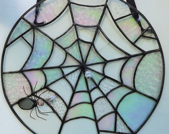 Stained Glass Spider Web Suncatcher