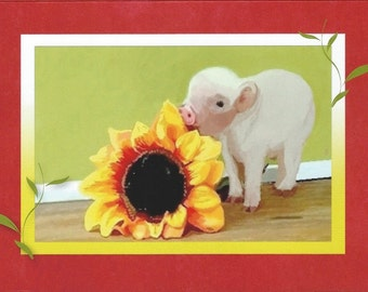 """Note Card: based on my original watercolor """"Piggy with a Sunflower"""" Paper and Party supplies, Stationary, Greeting cards, Art & Collectibles"""