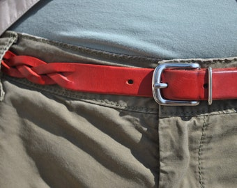 Red Leather Belt, Braided Leather Belt