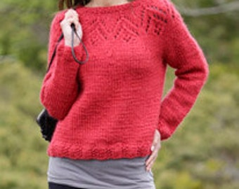 Knitted women sweater,  chunky wool jumper with lace pattern and round yoke, made to order