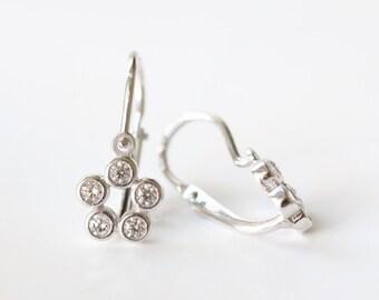 Kids Earrings, Gold Flower Earrings, Diamond Flower, Cubic Zirconia, 14k Solid Gold Earrings