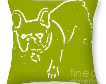 Denim the Frenchie Bulldog designer pillow throw pillow decorative pillow decorator cushion fine art home decor chartreuse green white dog
