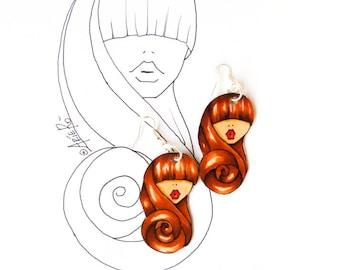 Dangling earrings , paper earrings , hand painted earrings , drop earrings , recycled earrings , gift idea for her , fashion earrings
