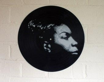 Nina Simone Stencil Art on Vinyl, spraypaint, graffiti, street art, upcycle, urban art, original