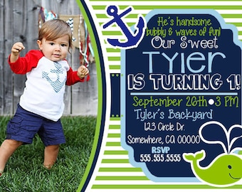 Boy Nautical Whale Birthday Invitation with Picture