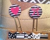 Heart & Bow Set of 2 Planner Clips Bookmark Paperclips. Kikkik. Filofax. Erin Condren. Color Crush