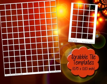 Scrabble Tile Templates, 0.75x0.83 inch, 8.5x11 4x6 A4 sheets, PNG Photoshop Gimp file, DIY blank jewelry craft transparent square rectangle