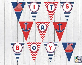 Nautical Boy Baby Shower Banner, Ahoy It's a Boy Printable Banner