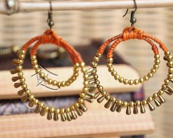 Macrame hoop and beaded minority earrings- GREEN and ORANGE