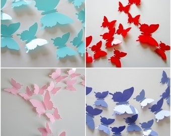 GET FREE BUTTERFLIES! 3D Butterfly Wall Art / Wall Stickers / Wall Decal - Solid Colors [Check description for free butterflies!]