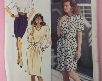 Vintage 1988 UNCUT Butterick 6282 Sewing Pattern 6282 Misses Dress, size 10, OOP pattern out of print, Ronnie Heller