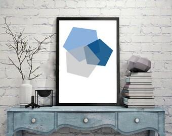 Geometric Polygon Art Blue Grey Minimalist, Wall Art, Home Decor, Printable Art, Downloadable Art Print