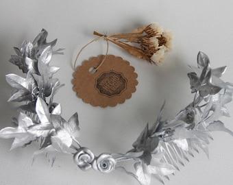Ivy leaf headpiece silver