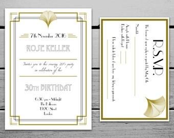 Digital 1920s Great Gatsby Birthday Invitation and RSVP Card