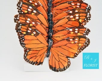 "6 Large Orange Artificial Butterflies 7"" wide - Fake Butterfly"