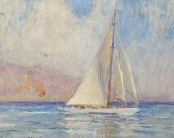 Vintage Sailboat Painting Early 20th Century Seascape Oil Painting Russian Artist Signed Nikolai Becker