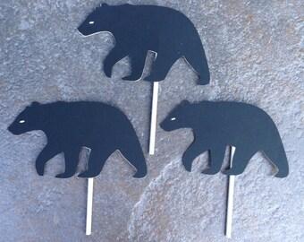 12 Black bear cupcake toppers