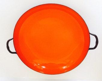 "Yugoslavia, Orange Enamel sauce pan, heavy weight, mid-century Yugoslavia, 10 1/2"""