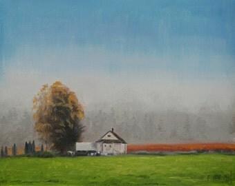 Sky Painting, Beautiful Farm House Painting, Farmhouse Painting, Nature Art, Handmade art, Field Painting