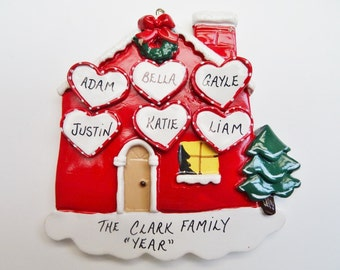 Personalized House Christmas Ornament Family of 6 - Six Hearts - Personalized Free