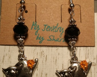 Halloween Crystal and Cat Charm Earrings