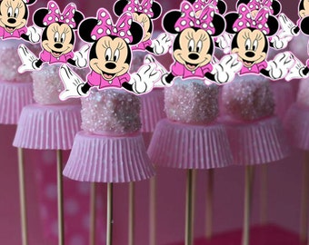 Minnie Mouse Marshmallow Topper, Cake Pop Topper, Cupcake Toppers, Cupcake Picks, INSTANT DOWNLOAD, You Print