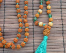 Sandalwood, green onyx and Rudraksha prayer bead sacred mala